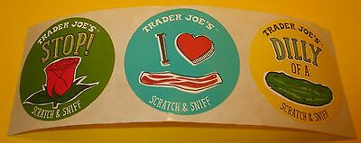 """TRADER JOES Scratch & Sniff Sticker Lot~BACON~ROSE~DiLL PiCKLE~1.5""""~Rare~HTF~.01"""