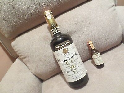 Two 1969 Canadian Club One Quart and mini 1/10 Pint 6 Year Old Whisky.Unopened .