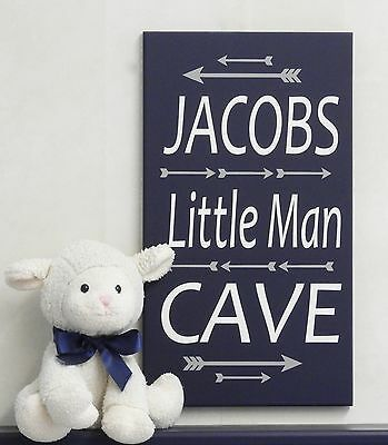Little Man Cave Sign - Arrow Woodland Tribal Art Nursery Personalized Name Navy