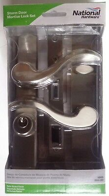 Keyed Satin Nickel Storm Screen Door Mortise Latch Bolt Replacement Lock Set