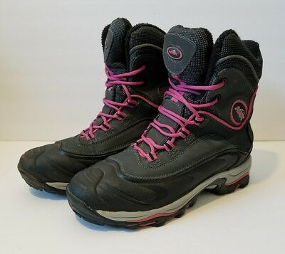 HMK Snowmobile Boots Women's Size 7 Black Pink Lace Up Winter Snow