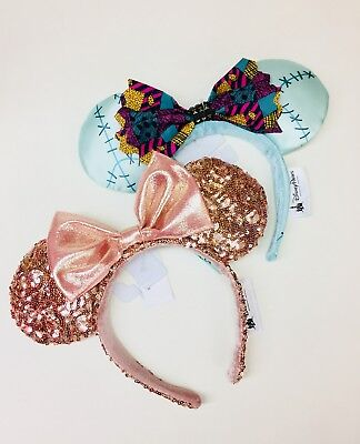 BNWT Authentic Disneyland Disney Rose Gold Minnie Ears & NBC Sally Minnie Ears