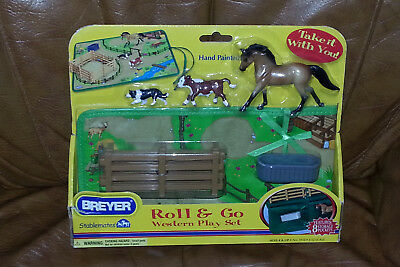 Breyer Stablemates Roll & Go Western Play Set Horse Calf Collie Hand Painted New