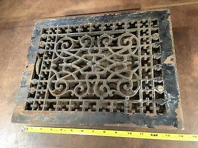 "Victorian Ornate Cast Iron Floor Grate / Heat Register 11"" X 14"" complete"