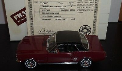 Danbury Mint 1966 Ford Mustang Coupe Diecast Car with Box and Title 1:24 Scale