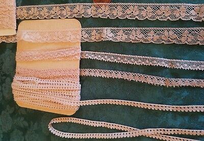 Lot of 4 thin French Val lace edgings antique pink Dusty Rose 9+ yards