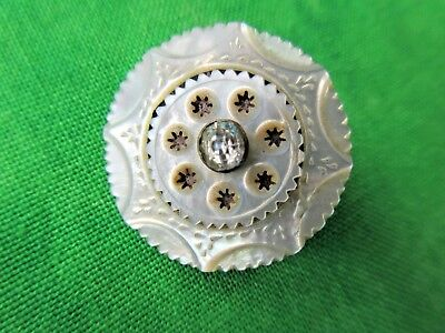 5711 – Beautifully Engraved Triple Border Pearl Antique Button Paste OME Pierced