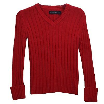 Faded Glory Girls Red Cable Knit V Neck Sweater Top Long Sleeves 6 6X 7 8