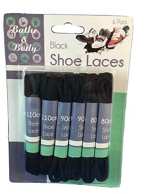 Boot laces and shoe laces variety 6 pack  black 80 cm - 110cm New shoelaces