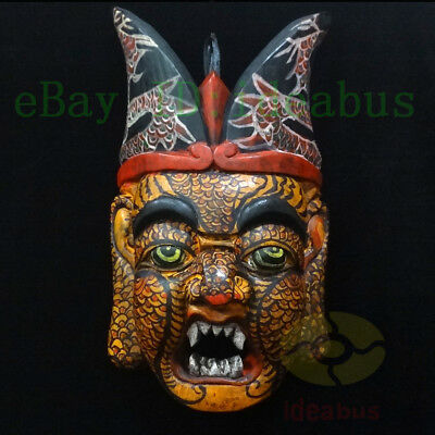 "China Folk Art Wood Carved Painted NUO MASK Walldecor Art-The Judge of Hell 13""T"