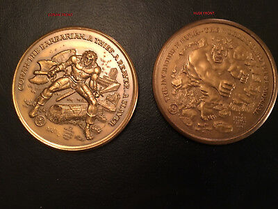 Conan The Barbarian AND The Incredible Hulk 1973 Vintage Collector Medallions