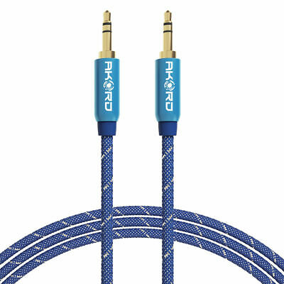 AKORD 3 m 3.5 mm Stereo AUX Audio Cable Gold Jack Connectors - Dark Blue, Metre