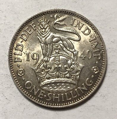 1940 SHILLING - GREAT BRITAIN * GREAT OLD BRITISH SILVER - GEORGE VI -Lot#734