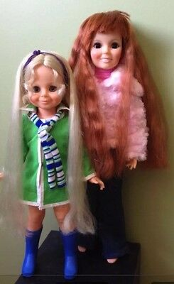 Crissy And Velvet Dolls 1968 Grow Hair Original Clothes Movable Head + Lashes