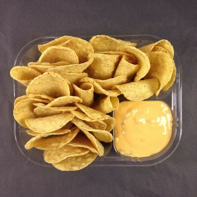 "500 Count Disposable Nacho Trays, Clear 2 Compartment, Large, 8""x6""x1-1/2"""