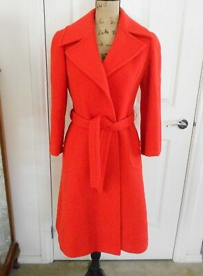 Vintage Cojana England 100% New Wool Ladies Red Coat Knee Length Size 10