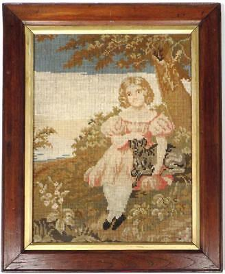GIRL WITH DOG, Charming Framed Antique 19th Century WOOLWORK Sampler Picture