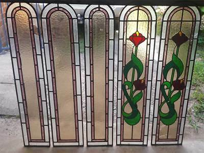 5 X Leadlight Stained Glass Panels