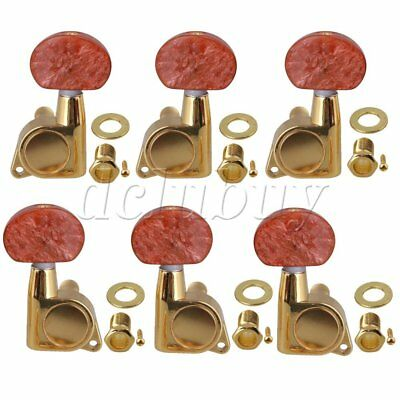 Red Semicircle Handle Acoustic Guitar 18:1 Golden Button Tuning Peg 3L3R