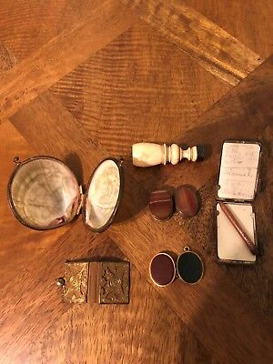 Antique Wax Seal Stamp, Two Pill Boxes, Shell Jewellery Box & Tin metal Notepad