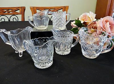 6 Small Vintage Depression Glass Jugs