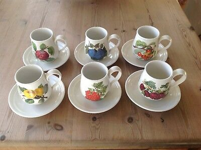 Vintage Portmeirion Pomona Set Of Six Mocha Cups & Saucers - Rare