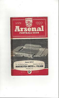 Manchester United v Fulham FA Cup Semi Final Replay 1958 @ Arsenal