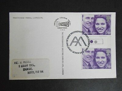 1973 Royal Wedding Traffic Light Gutter Pair On Postcard First Day Of Issue