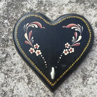 "FLOWERY LOVE HEART ""Black"" Wooden Hangable Decorative Key Hook Wall Art"