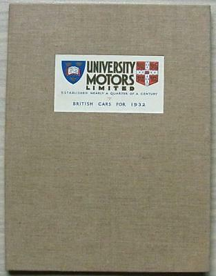 UNIVERSITY MOTORS Car Sales Brochure British 1932 RARE  MG Austin RILEY Morris