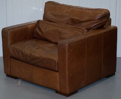 Vintage Heritage Brown Leather House Of Fraser Club Armchair Distressed Cool