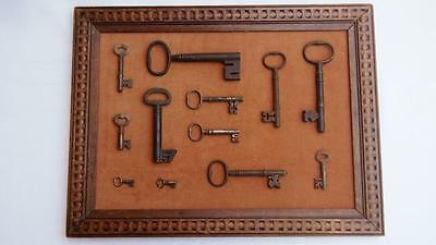Antique Cast Iron Key Collection - 12 keys in total (framed)