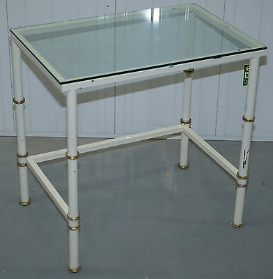 Rare Mid Century Modern Contemporary Metal Framed Famboo Glass Topped Table