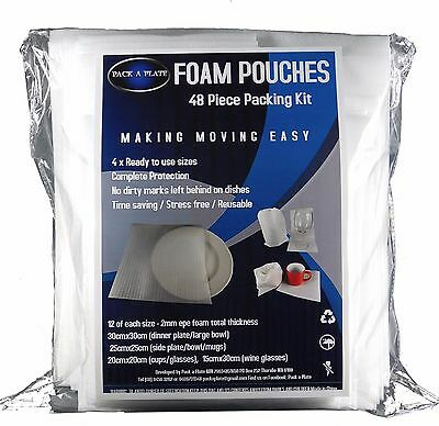 48 Piece Foam Pouch Moving Kit for Dinnerware & Glassware Protective & Compact