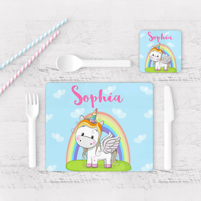 Personalised Cute Unicorn Rainbow Kids Children's Table Placemat & Coaster