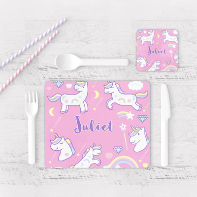 Personalised Pink Unicorn Stars Rainbow Kids Children's Table Placemat & Coaster