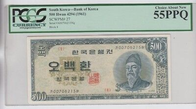 South Korea Paper Money (1961) P-27 PCGS Graded choice about New 55PPQ