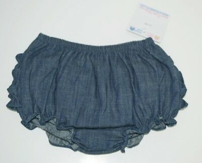 RuffleButts Faux Denim Infant Bloomers Size 12 to 18 Months Color Dark Blue