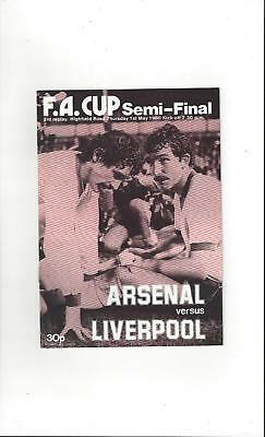Arsenal v Liverpool FA Cup Semi Final 3rd Replay Programme 1980 @ Coventry City