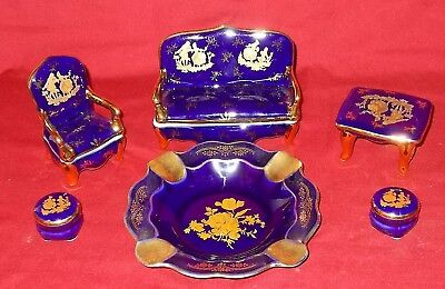 Limoges BLUE COBALT Miniature Furniture Set and Ash Tray