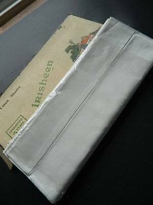 Pair of vintage unused boxed white Irish linen sheets with whipcord hems.