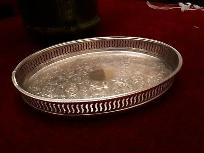 Vintage Silver Plated on Copper Gallery Tray-Oval.