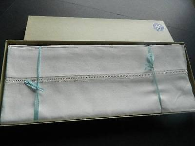 Pair of vintage unused boxed white Irish linen sheets with drawnthread work hems