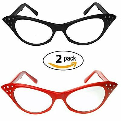 Red &Amp; Black Cat Eye Glasses Rhinestones  50'S 60'S Retro Cateye Glasses (2 P
