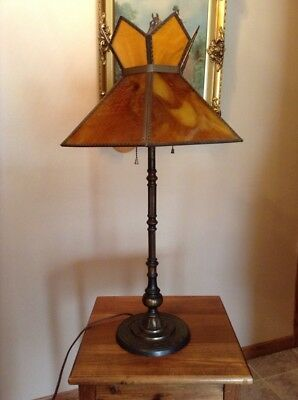 "Antique amber slag stained glass 26"" cast iron heavy table lamp Art Deco"