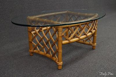 FICKS REED Rattan and Glass Coffee Cocktail Table Mid Century Modern Split Reed