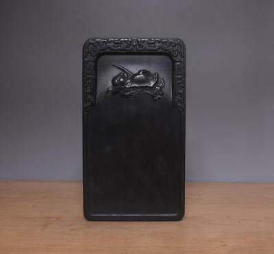 Old Chinese Carved Rosewood Inkstone Inkslab w/lotus flower