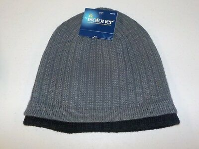 Mens One Size Fits Most Isotoner Charcoal Gray Black Knit Hat Winter New #7312