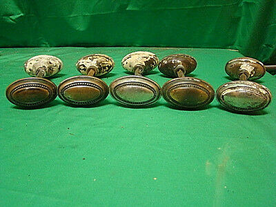 Antique Set Of 5 Iron Ornate Door Knob Sets (10 Knobs) Df