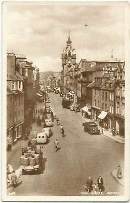 Scotland Hawick High Street Real Photo 1954 Vintage Postcard 14.1